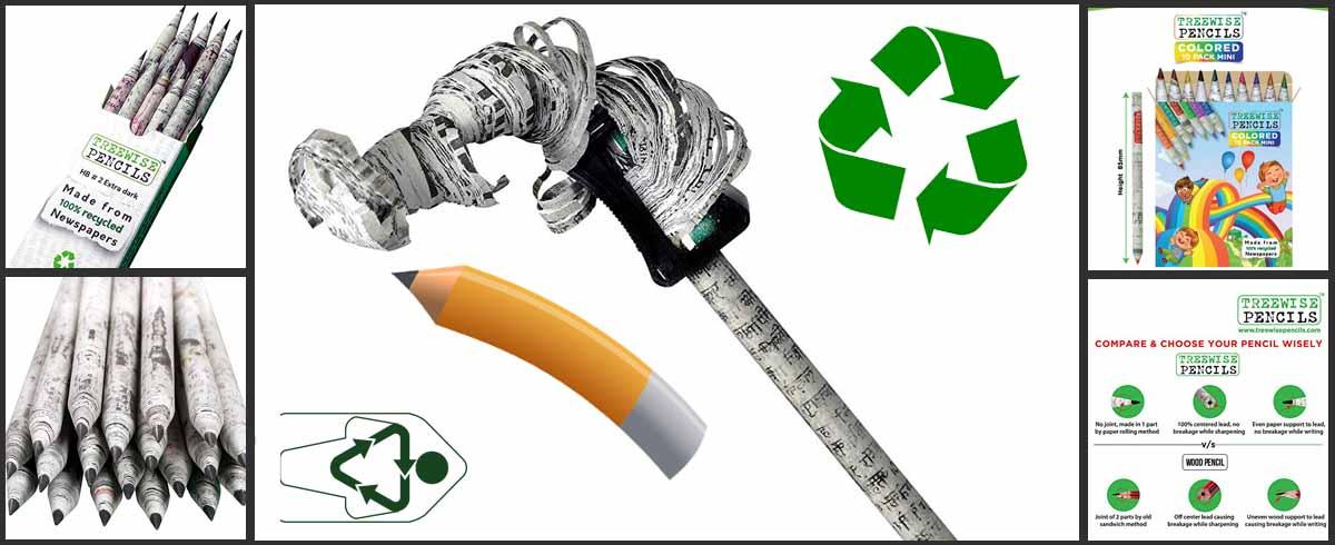 El lapiz de papel reciclado de periodicos es la alternativa sostenible a productos de madera