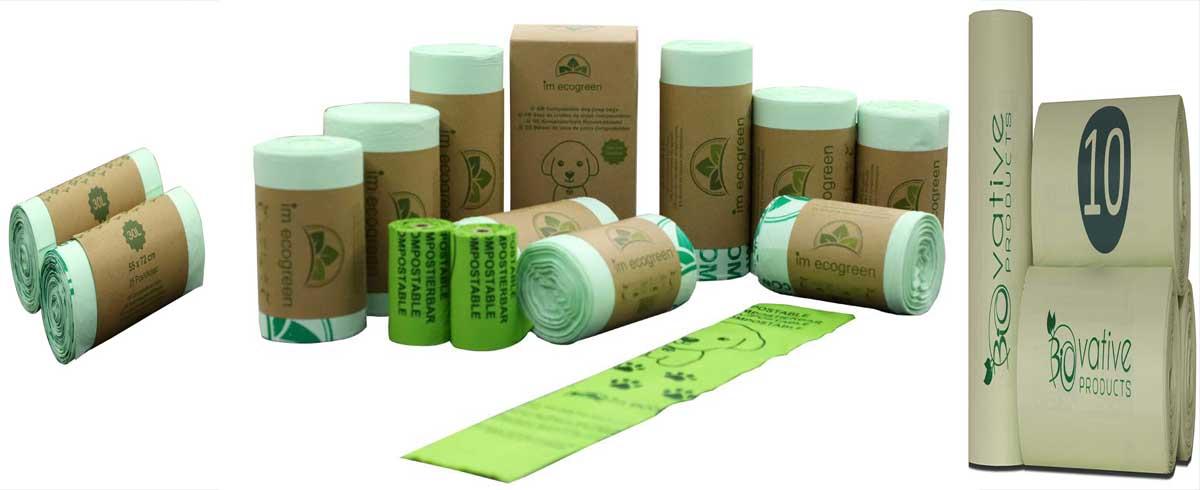 bolsas de basura compostables biodegradables para los desechos organicos